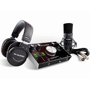 Kit Gravação Com Interface MTRAKSTDPR Habro Fone + Microfone Condensador