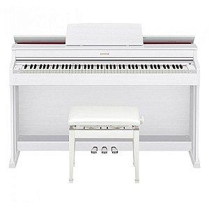 Piano Digital Casio Celviano Ap470 Branco Com Fonte e Banco