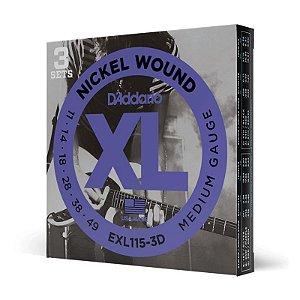 Kit Encordoamento Cordas Guitarra 011 Daddario EXL115-3D Leve 3 Pague 2