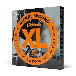 Kit Encordoamento Guitarra 010 D'addario Exl110-3D Pague 2 Leve 3
