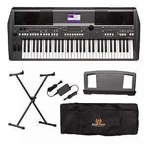 Kit Teclado Musical Yamaha Psr S670 Psr-s670 Fonte + Suporte