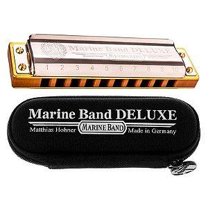 Gaita Boca Em Mi E Harmonica Hohner Marine Deluxe C/ Estojo