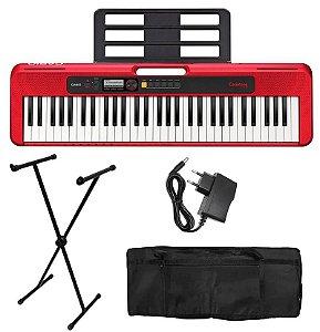 Kit Teclado Digital Casio Casiotone Vermelho Ct-s200 Suporte E Bag