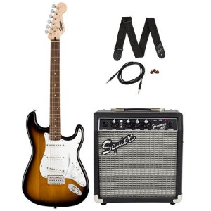 Kit Guitarra Fender Squier Stratocaster + Amplificador Fender Frontman 10G + Acessórios