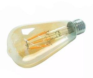 Lâmpada bulbo LED filamento Pera E27 âmbar 4w