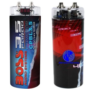 Mega Capacitor 3.5 Farad Boss Audio para 4500W RMS Com Display Voltímetro e Bip