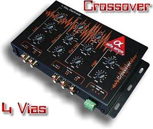 Crossover 4 Vias Alfa Amps Ativo Eletrônico para Subwoofer Woofer Corneta e Super Tweeter