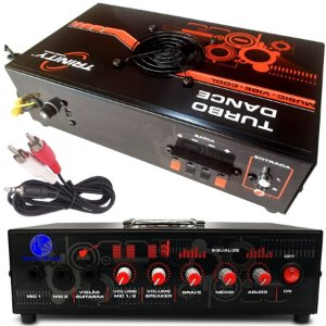 Amplificador de Mesa Receiver Turbo Dance 300W RMS para Microfone Guitarra Festas Dj Funk Rock Gospel