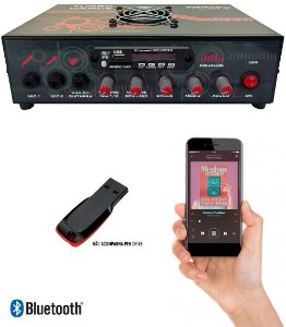 Amplificador de Mesa Receiver Rádio Usb Bluetooth Microfone Guitarra para Som Ambiente 300W Rms