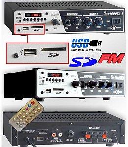 Receiver Amplificador de Mesa para Som Ambiente Frahm Slim 1000 USB FM SD - 2 Canais
