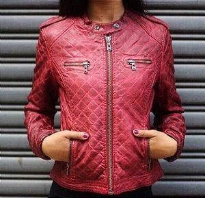 Jaqueta de couro eco estonada