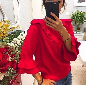 Blusa de tricot com babadinhos