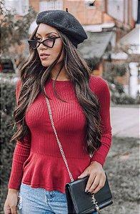 Blusa de tricot peplum