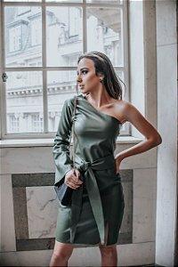 Vestido de couro ecológico um ombro só