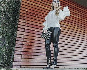 Calça legging de couro ecológico