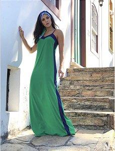 Vestido longo verde com listra azul