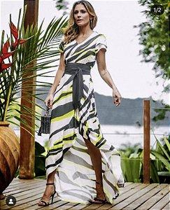 Vestido longo zebra