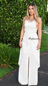 Vestido longo de linho branco
