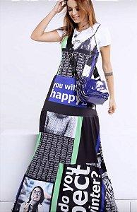 Vestido longo multi estampas