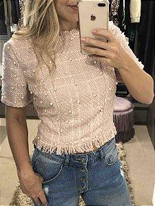 Blusa de tweed com pérolas