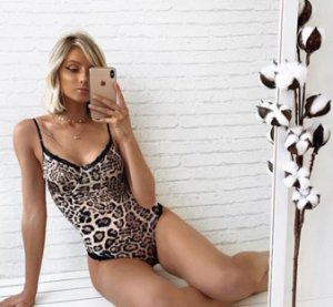 Body animal print com rendinha