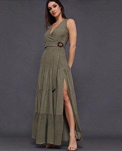 Vestido longo transpassado