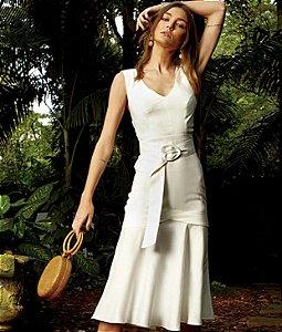 Vestido Midi de Linho com Cinto