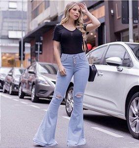 Calça Jeans Maxi Flare Botões
