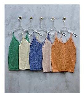 Regata de tricot com lurex e tule nas alças