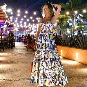 Vestido longo estampa Sicília