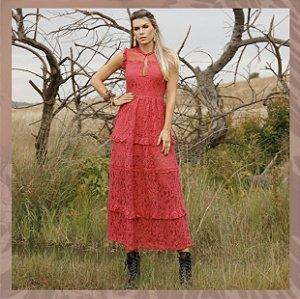 Vestido longo de renda Encanto