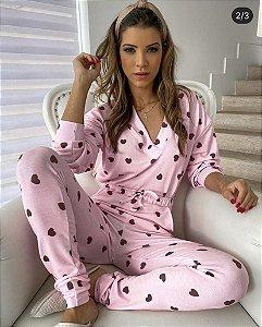 Pijama Coração Rosa