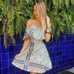 Vestido Babado Chic Azulejo