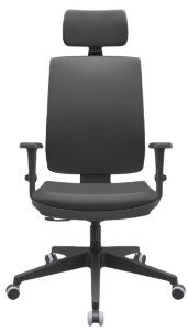 Cadeira Presidente BRIZZA Ergonômica Base Nylon com apoio de cabeça