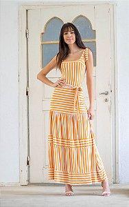 Vestido Longo em Viscolycra Listrada - Amarelo/Branco
