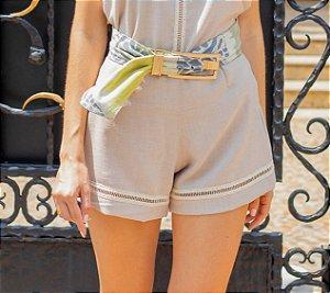 Shorts Cintura Alta em Linho - Nude