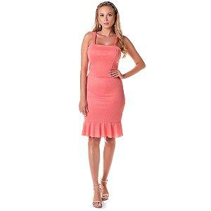 Vestido em Ribana Canelada - Coral