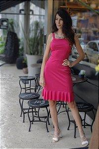 Vestido em Ribana Canelada - Rosa