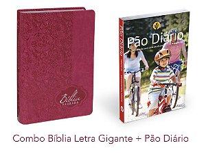 Bíblia Letra Gigante PINK Almeida Revista e Atualizada + Devocional Pão Diário Vol 22 - 2019