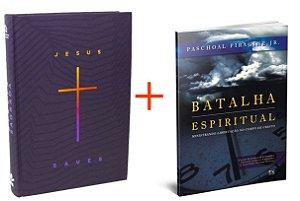 COMBO BÍBLIA SAGRADA JESUS SAVE + BATALHA ESPIRITUAL