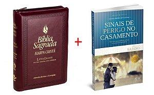 COMBO BÍBLIA SAGRADA COM HARPA CRISTÃ - LETRA GIGANTE + SINAIS DE PERIGO NO CASAMENTO