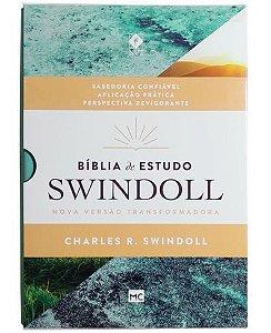 BÍBLIA DE ESTUDO SWINDOLL AQUA (CAPA LUXO - LETRA NORMAL)