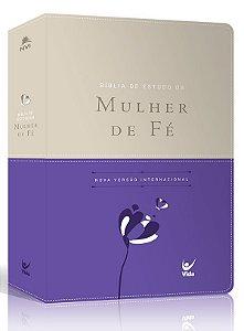 Bíblia de Estudo da Mulher de Fé – capa luxo violeta e bege