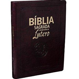 Bíblia Sagrada com Reflexões de Lutero Vinho Média