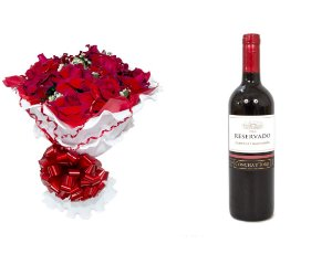 Buquê de Flores Encanto de Colombianas Vermelho + Vinho Concha Y Toro
