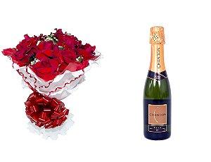 Buquê de Flores Encanto de Colombianas Vermelho + Espumante ChandonBrut