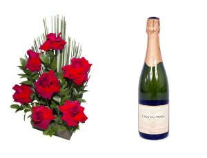 Arranjo de Flores Affetto di fiori vermelho + Espumante Casa Valduga