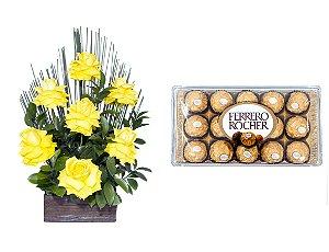Arranjo de Flores Affetto di fiori amarelo + Ferrero Rocher