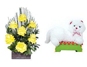 Arranjo de Flores Affetto di fiori amarelo + Gata Mel