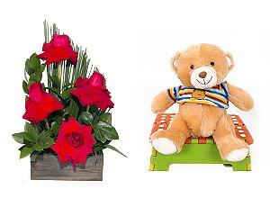 Arranjo de Flores Sabor da Paixão + Urso Carinhoso